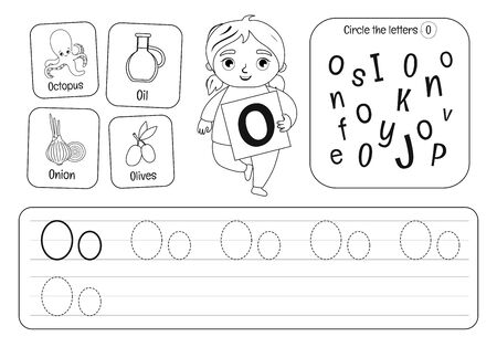 Kids learning material. Worksheet for learning alphabet. Letter O . Black and white.