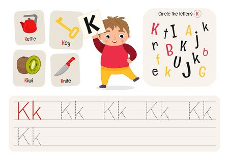 Kids learning material. Worksheet for learning alphabet. Letter K. Illusztráció