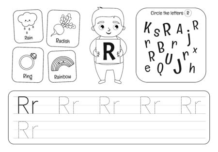 Kids learning material. Worksheet for learning alphabet. Letter R. Black and white. Illusztráció