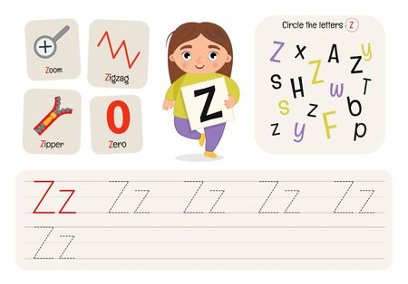 Kids learning material. Worksheet for learning alphabet. Letter Z.