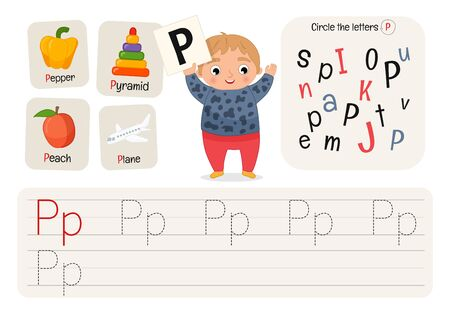 Kids learning material. Worksheet for learning alphabet. Letter P. Illusztráció