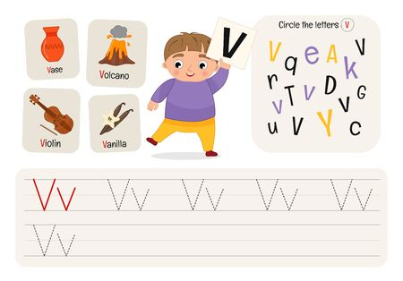 Kids learning material. Worksheet for learning alphabet. Letter V.