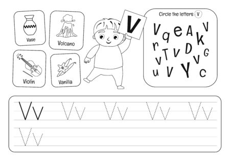 Kids learning material. Worksheet for learning alphabet. Letter V. Black and white.