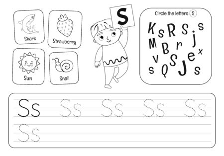 Kids learning material. Worksheet for learning alphabet. Letter P. Black and white. Illusztráció
