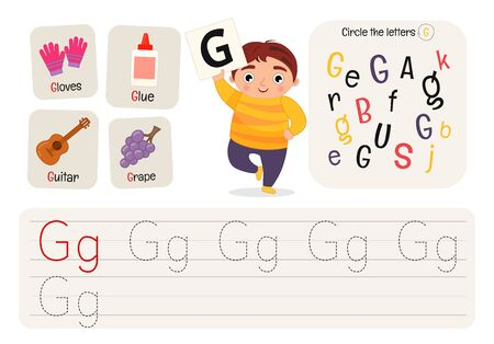 Kids learning material. Worksheet for learning alphabet. Letter G.