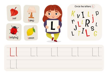 Kids learning material. Worksheet for learning alphabet. Letter L.