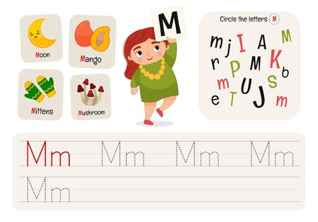 Kids learning material. Worksheet for learning alphabet. Letter M.