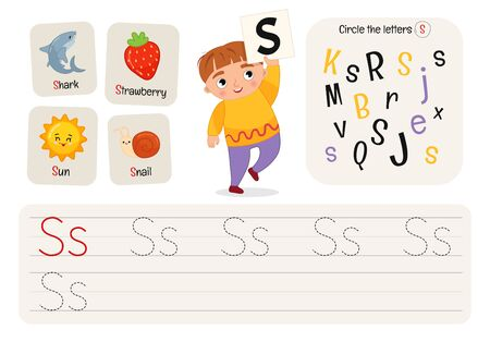 Kids learning material. Worksheet for learning alphabet. Letter S.