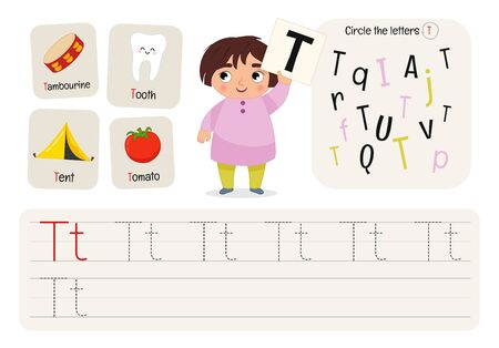 Kids learning material. Worksheet for learning alphabet. Letter T.