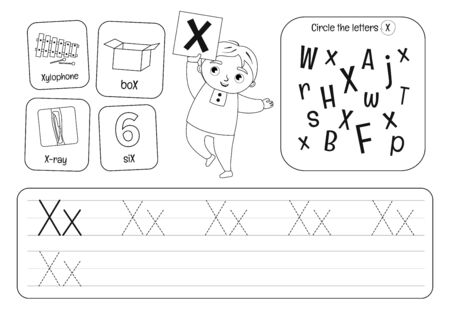 Kids learning material. Worksheet for learning alphabet. Letter X. Black and white. Illusztráció