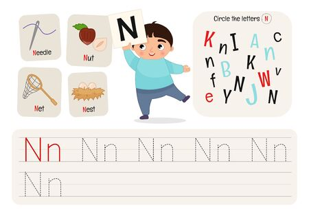 Kids learning material. Worksheet for learning alphabet. Letter N.