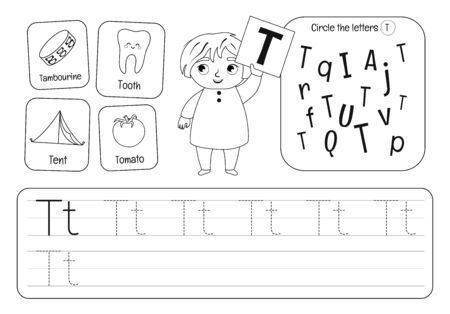 Kids learning material. Worksheet for learning alphabet. Letter T. Black and white. Illusztráció