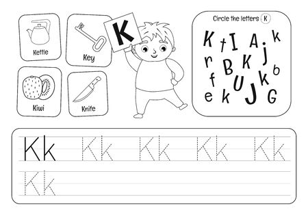 Kids learning material. Worksheet for learning alphabet. Letter K. Black and white.