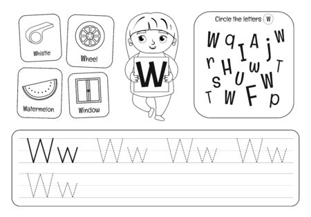 Kids learning material. Worksheet for learning alphabet. Letter W. Black and white.