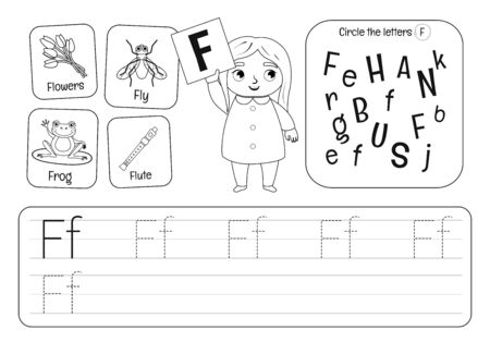 Kids learning material. Worksheet for learning alphabet. Letter F. Black and white.