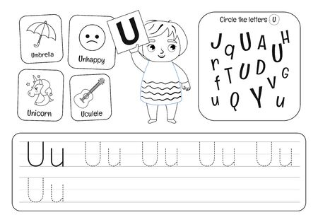 Kids learning material. Worksheet for learning alphabet. Letter U . Black and white.