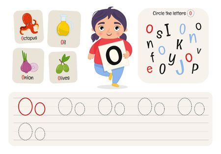 Kids learning material. Worksheet for learning alphabet. Letter O.