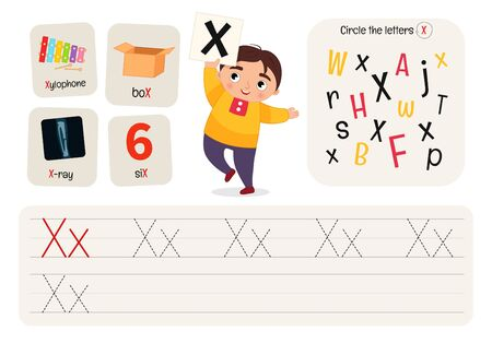 Kids learning material. Worksheet for learning alphabet. Letter X. Illusztráció