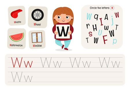 Kids learning material. Worksheet for learning alphabet. Letter W.