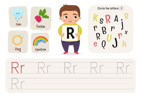 Kids learning material. Worksheet for learning alphabet. Letter R.