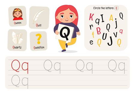 Kids learning material. Worksheet for learning alphabet. Letter Q.