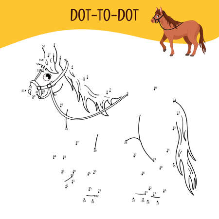 Educational game for kids. Dot to dot game for children. Farm animals. Horse.