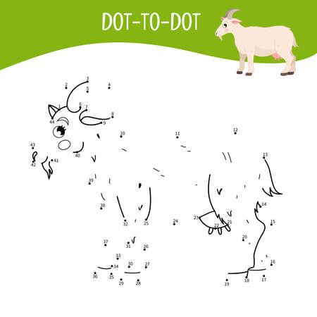 Educational game for kids. Dot to dot game for children. Farm animals. Goat.