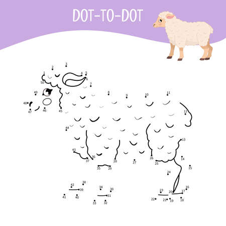 Educational game for kids. Dot to dot game for children. Farm animals. Sheep. Ilustracja