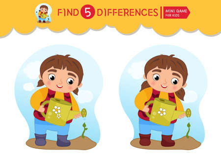 Find differences. Educational game for children. Cartoon vector illustratio of cute girl watering a sprout.
