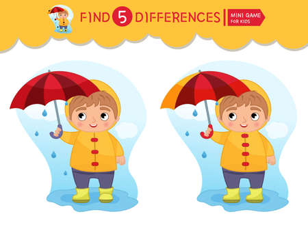 Find differences. Educational game for children. Cartoon vector illustratio of cute boy with umbrella. Ilustracja