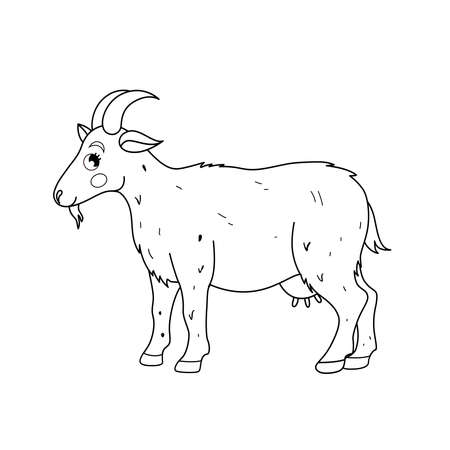 Coloring book for children. Farm animals. Goat. Ilustracja