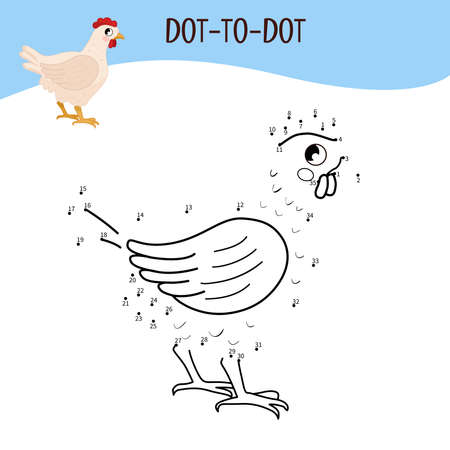 Educational game for kids. Dot to dot game for children. Farm animals. Hen.
