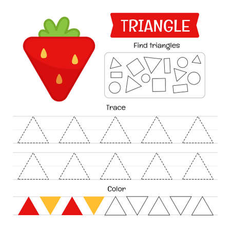 Handwriting practice sheet. Basic writing. Educational game for children. Geometric forms. Triangle. Ilustracja