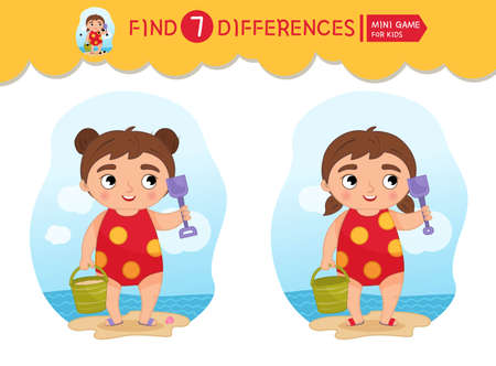 Find differences. Educational game for children. Cartoon vector illustratio of cute girl on the beach.