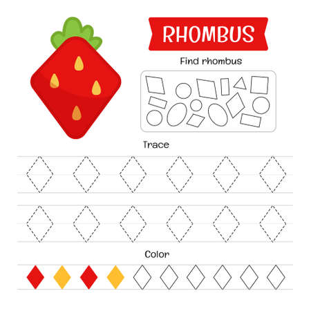 Handwriting practice sheet. Basic writing. Educational game for children. Geometric forms. Rhombus Ilustracja