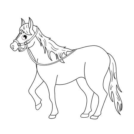 Coloring book for children. Farm animals. Horse. Ilustracja