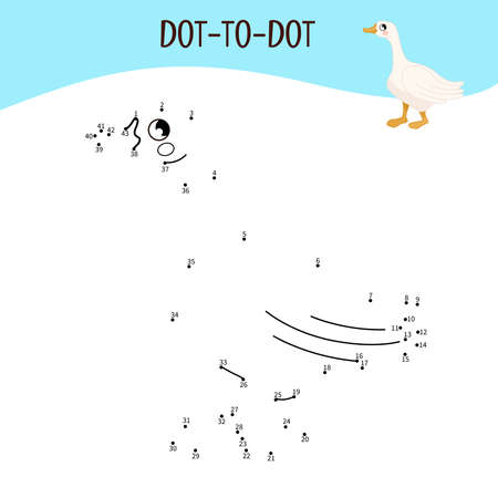 Educational game for kids. Dot to dot game for children. Farm animals. Goose.