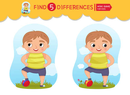 Find differences. Educational game for children. Cartoon vector illustratio of cute boy with ball. Ilustracja