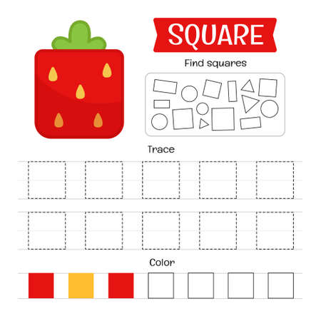 Handwriting practice sheet. Basic writing. Educational game for children. Geometric forms. Square.