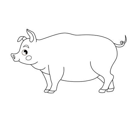 Coloring book for children. Farm animals. Pig