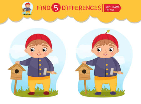 Find differences. Educational game for children. Cartoon vector illustratio of cute boy with birdhouse. Ilustracja