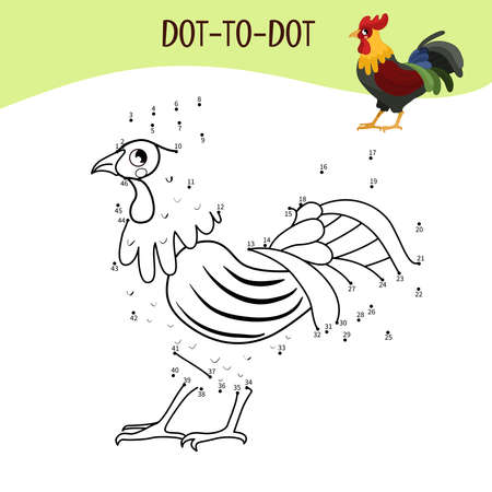 Educational game for kids. Dot to dot game for children. Farm animals. Cock.