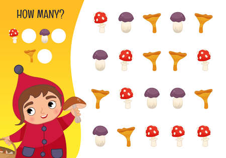 Counting educational children game, math kids activity sheet. How many objects task. Autumn. Cartoon cute girl with mushrooms.