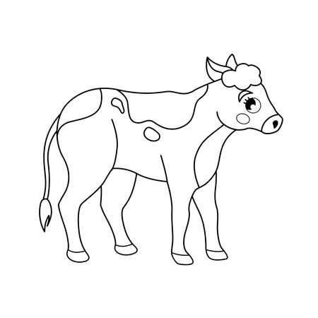 Coloring book for children. Farm animals. Calf.