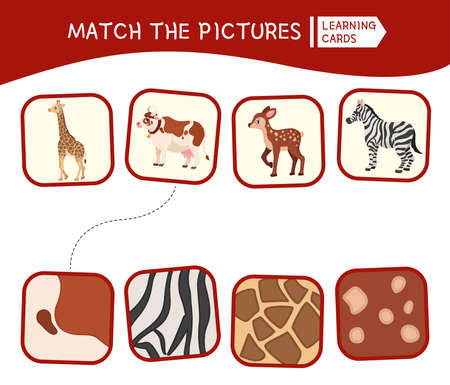 Matching children educational game. Match animals and patterns. Activity for pre sсhool years kids and toddlers.