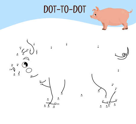 Educational game for kids. Dot to dot game for children. Farm animals. Pig. Ilustracja