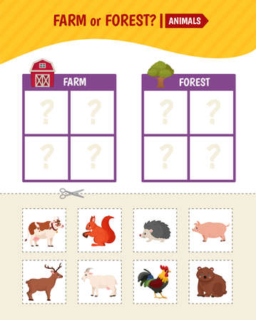 Educational game for children. Toddler Activity Cards. Farm and forest animals. Stockfoto - 158518807