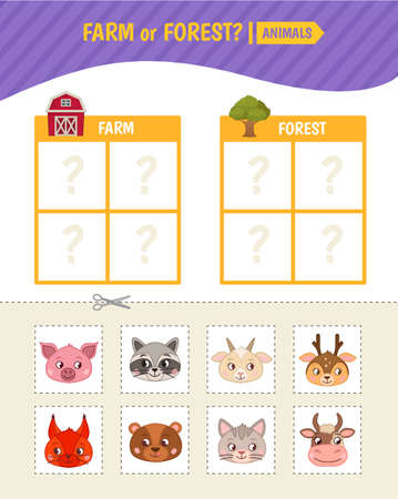Educational game for children. Toddler Activity Cards. Farm and forest animals.