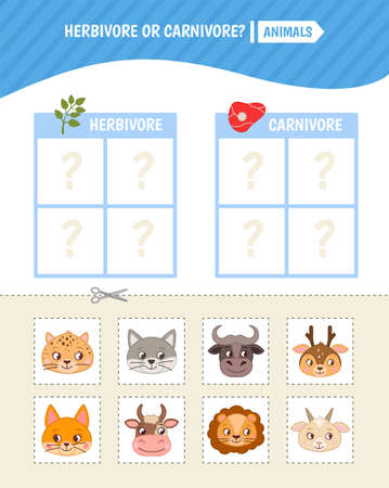 Educational game for children. Toddler Activity Cards. predators and herbivores animals.
