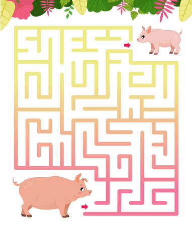 Maze game for children. Farm animals collection. Help the pig to find the baby.